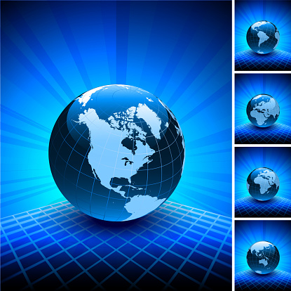 Blue World Map Globe Collection on Abstract Background