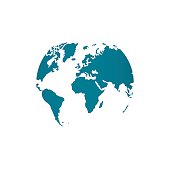 Blue world map globe vector illustration isolated on white background stylized in sphere shape