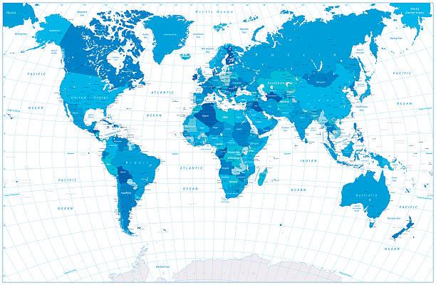 Blue World Map isolated on white – Vektorgrafik