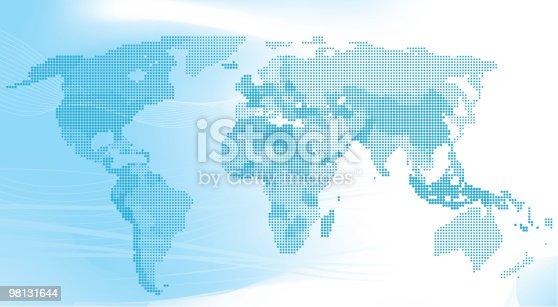 Blu Mappa Del Mondo Fatto Di Punti - Immagini vettoriali stock e altre immagini di Africa 98131644