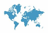 Blue World Map on white background, Vector Illustration