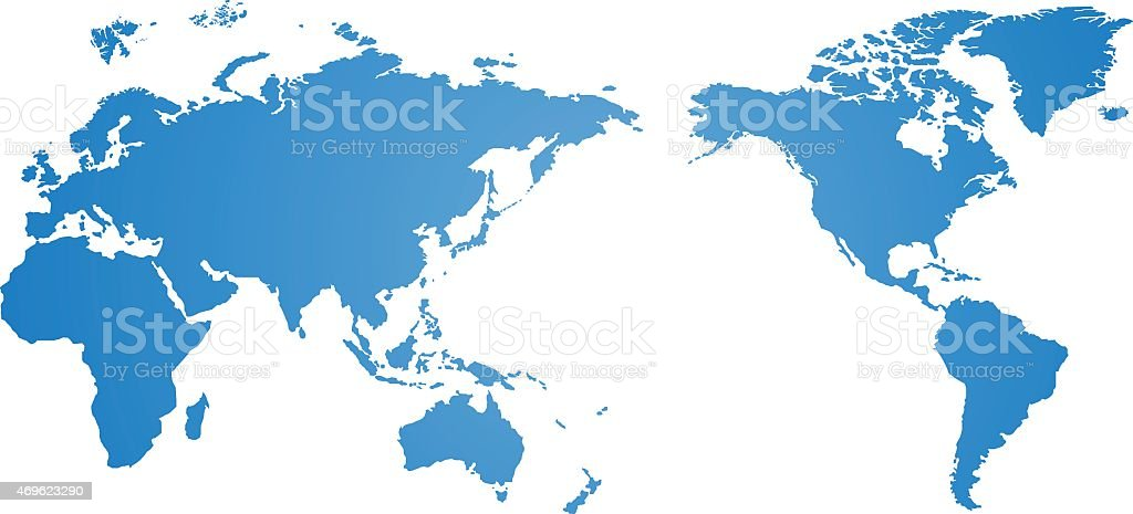 Blue world map vector over a white background vector art illustration