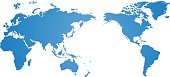 Blue world map vector over a white background