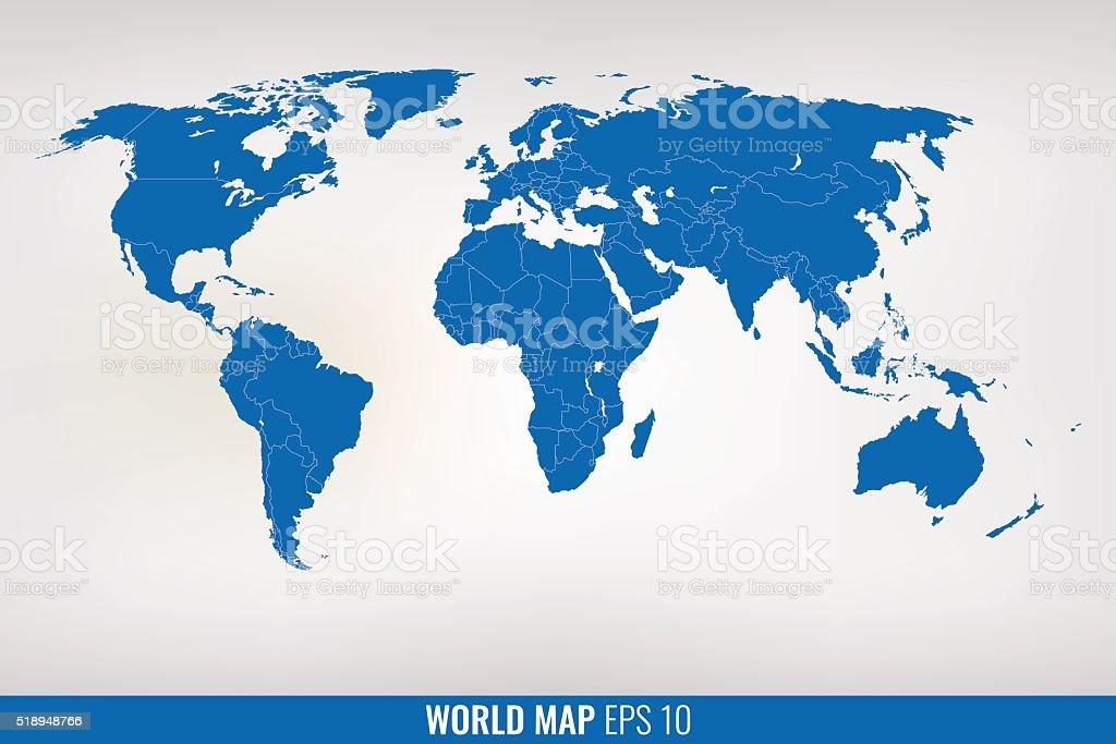 blue world map. vector vector art illustration