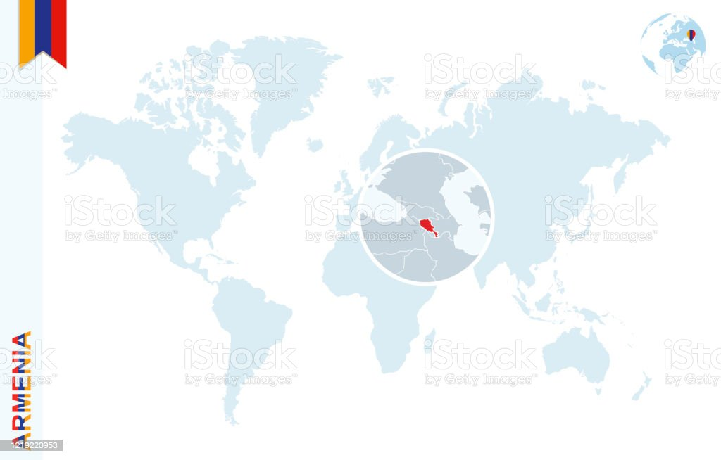 Picture of: Blue World Map With Magnifying On Armenia Stock Illustration Download Image Now Istock