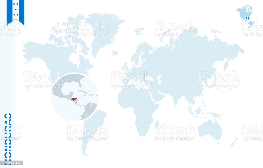 Blue World Map With Magnifying On Honduras Stock Illustration Download Image Now Istock
