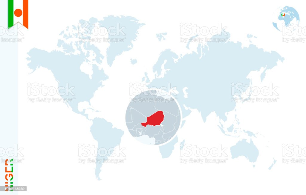 Picture of: Blue World Map With Magnifying On Niger Stock Illustration Download Image Now Istock