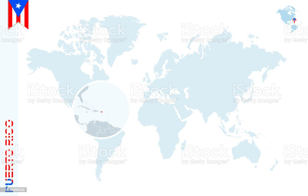 Picture of: Blue World Map With Magnifying On Puerto Rico Stock Illustration Download Image Now Istock