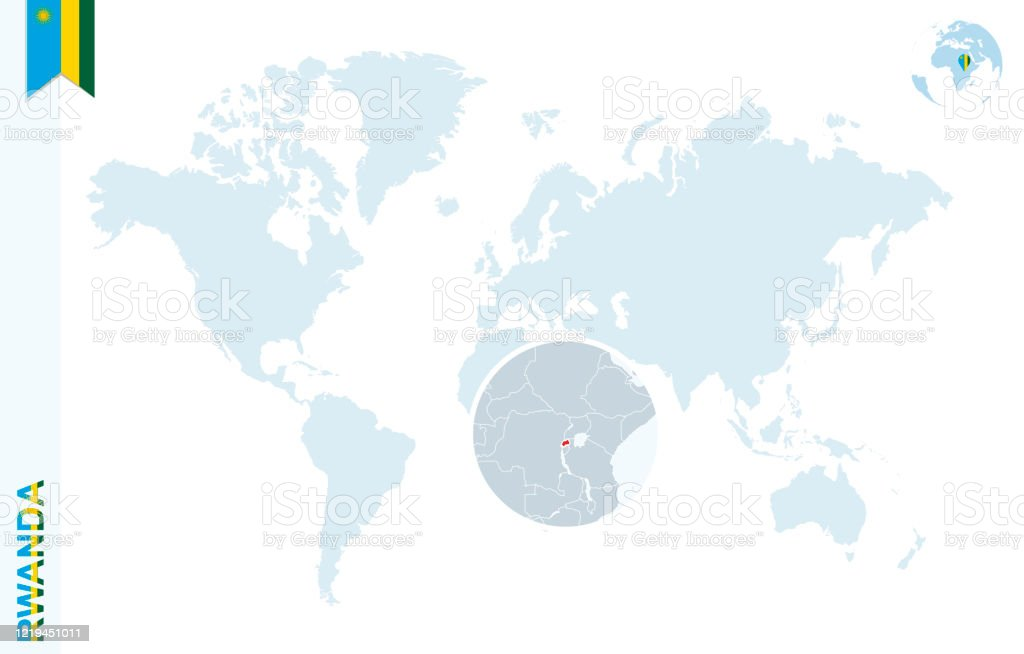 Image of: Blue World Map With Magnifying On Rwanda Stock Illustration Download Image Now Istock