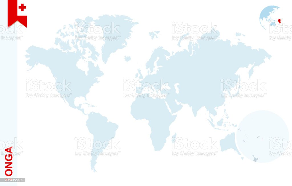 Image of: Blue World Map With Magnifying On Tonga Stock Illustration Download Image Now Istock