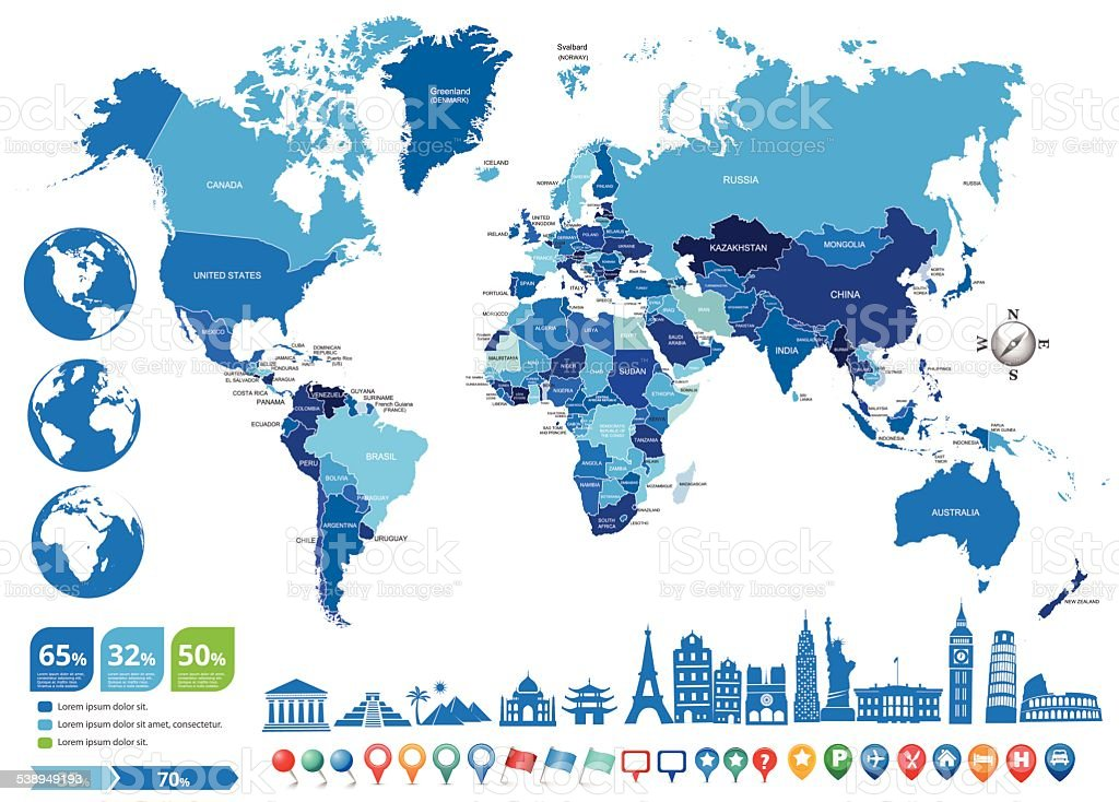 blue World Political Map with globes and landmarks vector art illustration