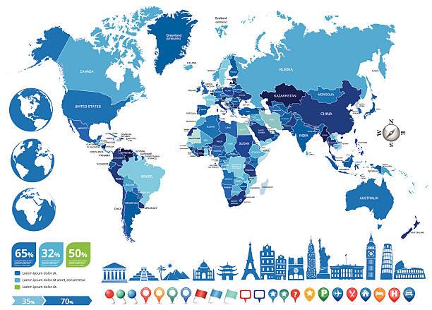 ilustrações, clipart, desenhos animados e ícones de mapa político do mundo azul com globos e marcos - mapa do oriente médio