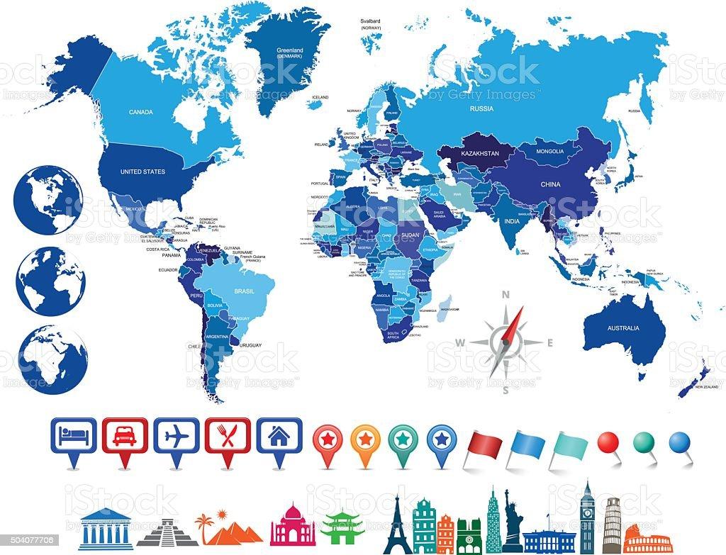 Azul com globos de mapa político do mundo - ilustração de arte em vetor