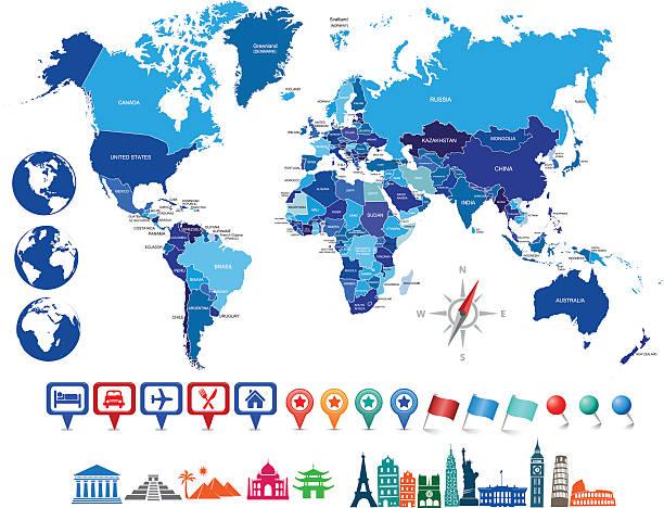 ilustrações, clipart, desenhos animados e ícones de azul com globos de mapa político do mundo - mapa do oriente médio