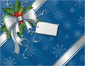 A vector illustration of a wrapped gift with ribbons and holly, and an empty name tag. Objects are grouped and layered for easy editing. Files included: AI12, EPS8 and Large High Res JPG.