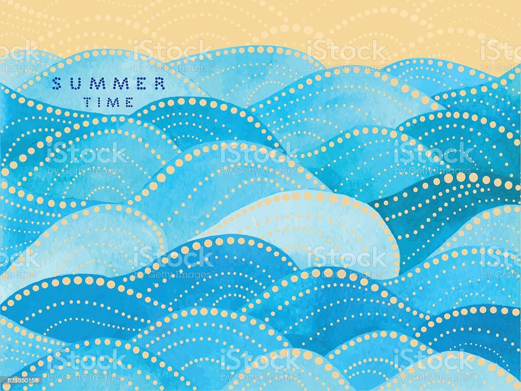 blue writing summertime on waves ornament vector art illustration