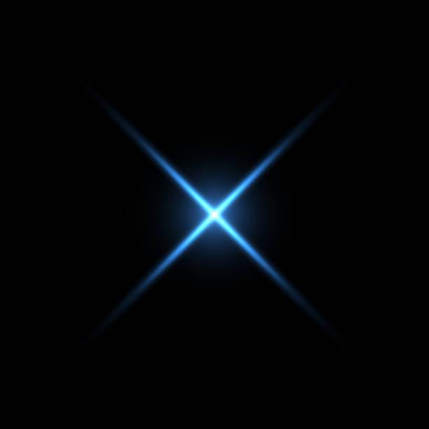 bildbanksillustrationer, clip art samt tecknat material och ikoner med blå x form ljus på svart bakgrund - ljus naturföreteelse