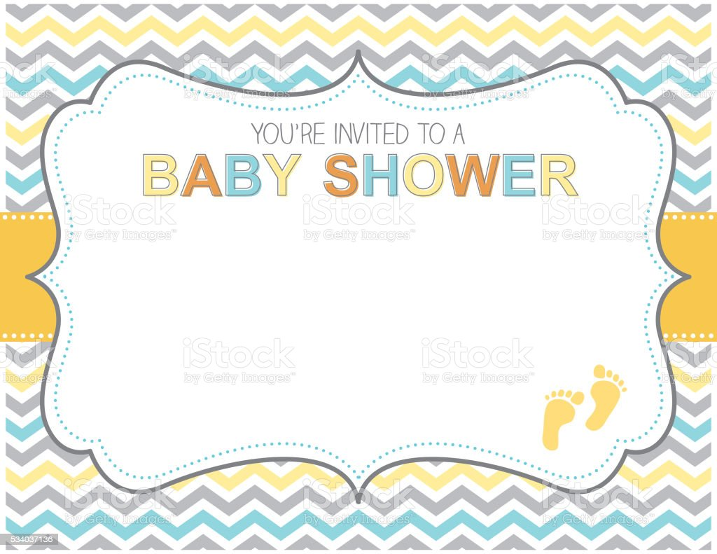 Blue Yellow and Grey Baby Shower Invitation vector art illustration