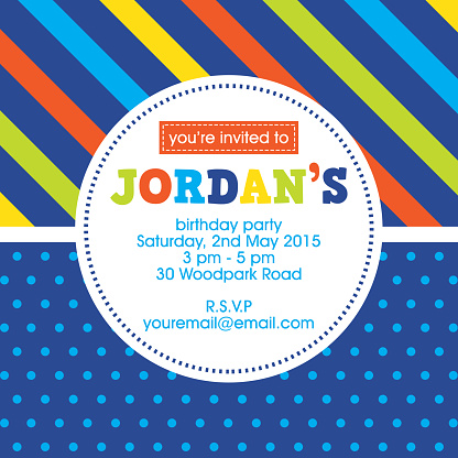 Blue, yellow and orange Invitation template for kids party