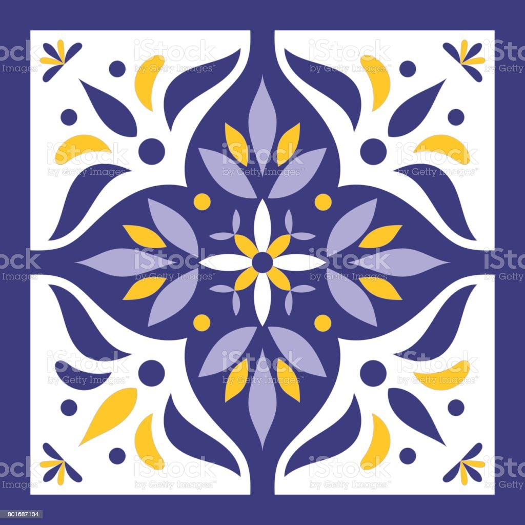 Blue, yellow and white tile vector vector art illustration