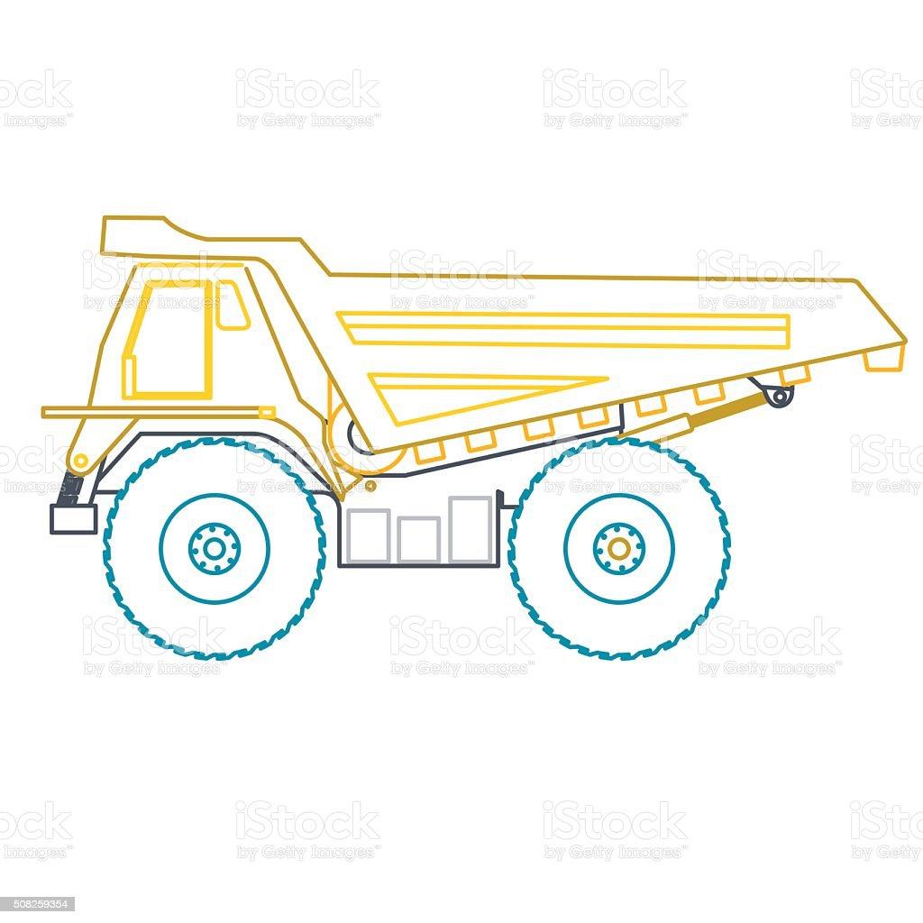 青黄色のアウトライン重トラック構築道路オンホワイトにしましょう。 - アスファルトのロイヤリティフリーベクトルアート