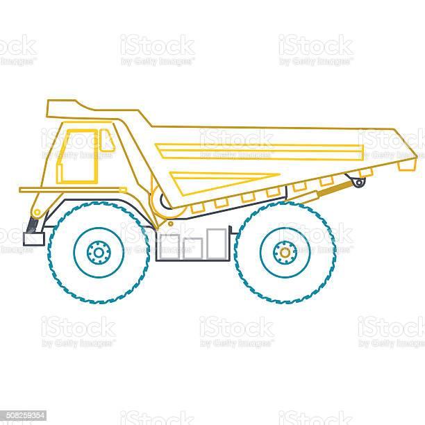 青黄色のアウトライン重トラック構築道路オンホワイトにしましょう - アスファルトのベクターアート素材や画像を多数ご用意