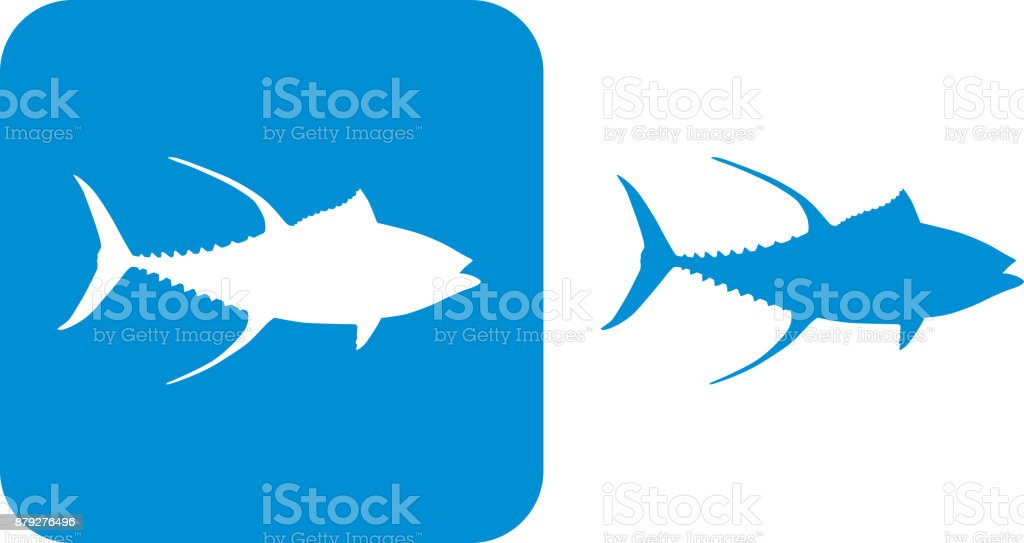 Blue Yellowfin Tuna Icons vector art illustration