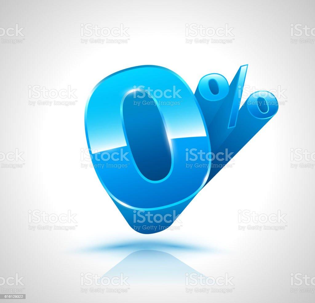 Blue Zero percent 3D style. Vector illustration. vector art illustration