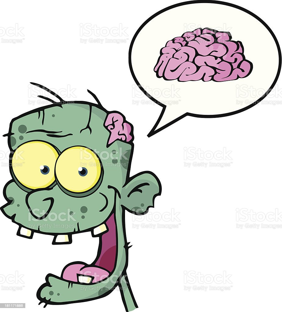 Blue Zombie Head Cartoon Character With Speech Bubble Brain royalty-free blue zombie head cartoon character with speech bubble brain stock vector art & more images of adult