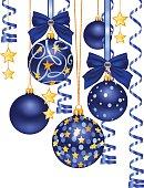 Christmas background with elegant blue balls, ribbons, golden stars