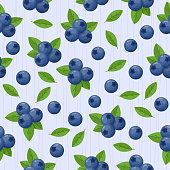 istock Blueberries with green leaves vector seamless pattern. 1318011733
