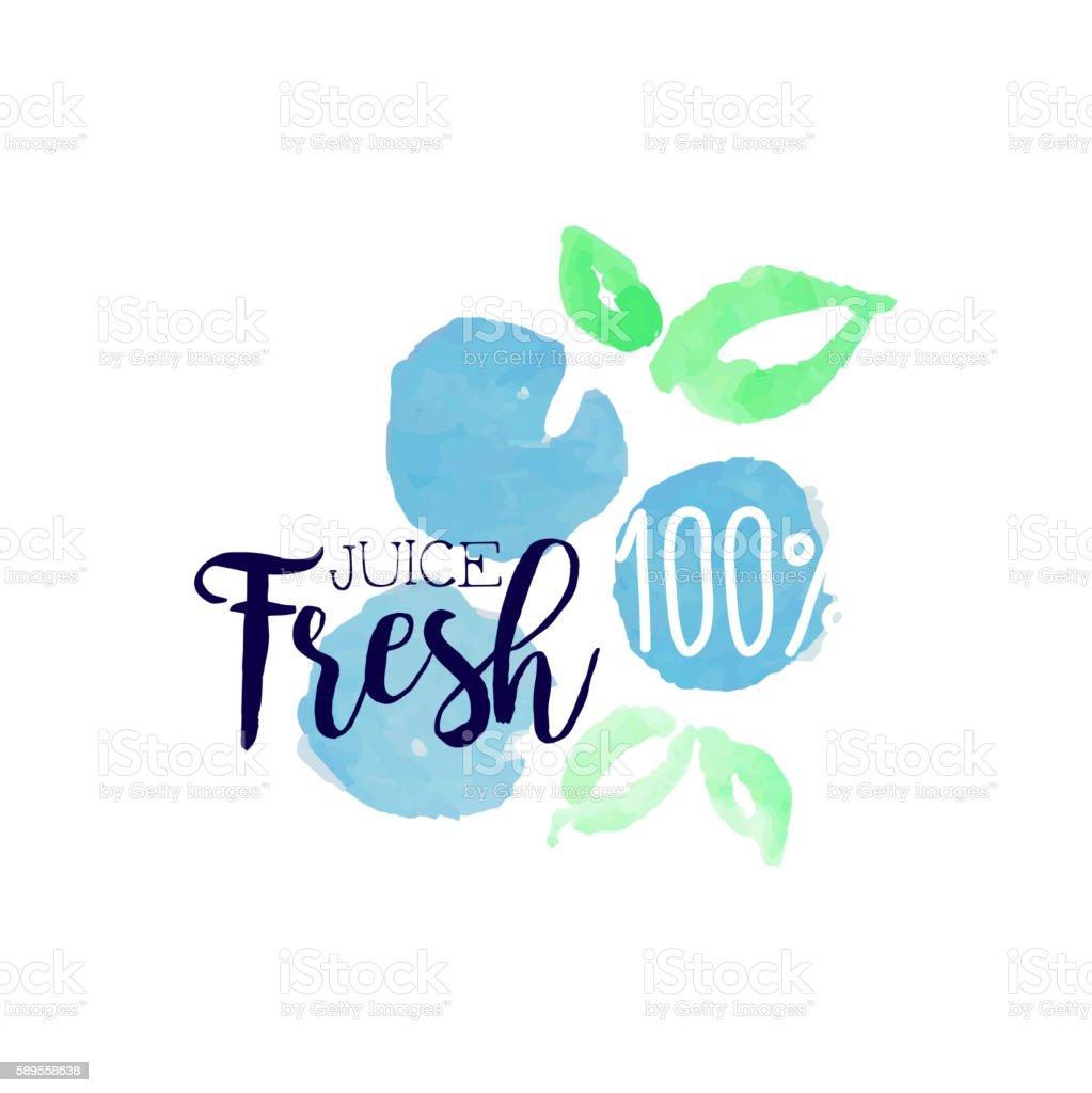 Blueberry 100 Percent Fresh Juice Promo Sign vector art illustration