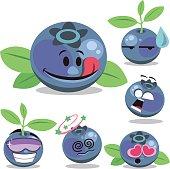 Cartoon blueberry set including: