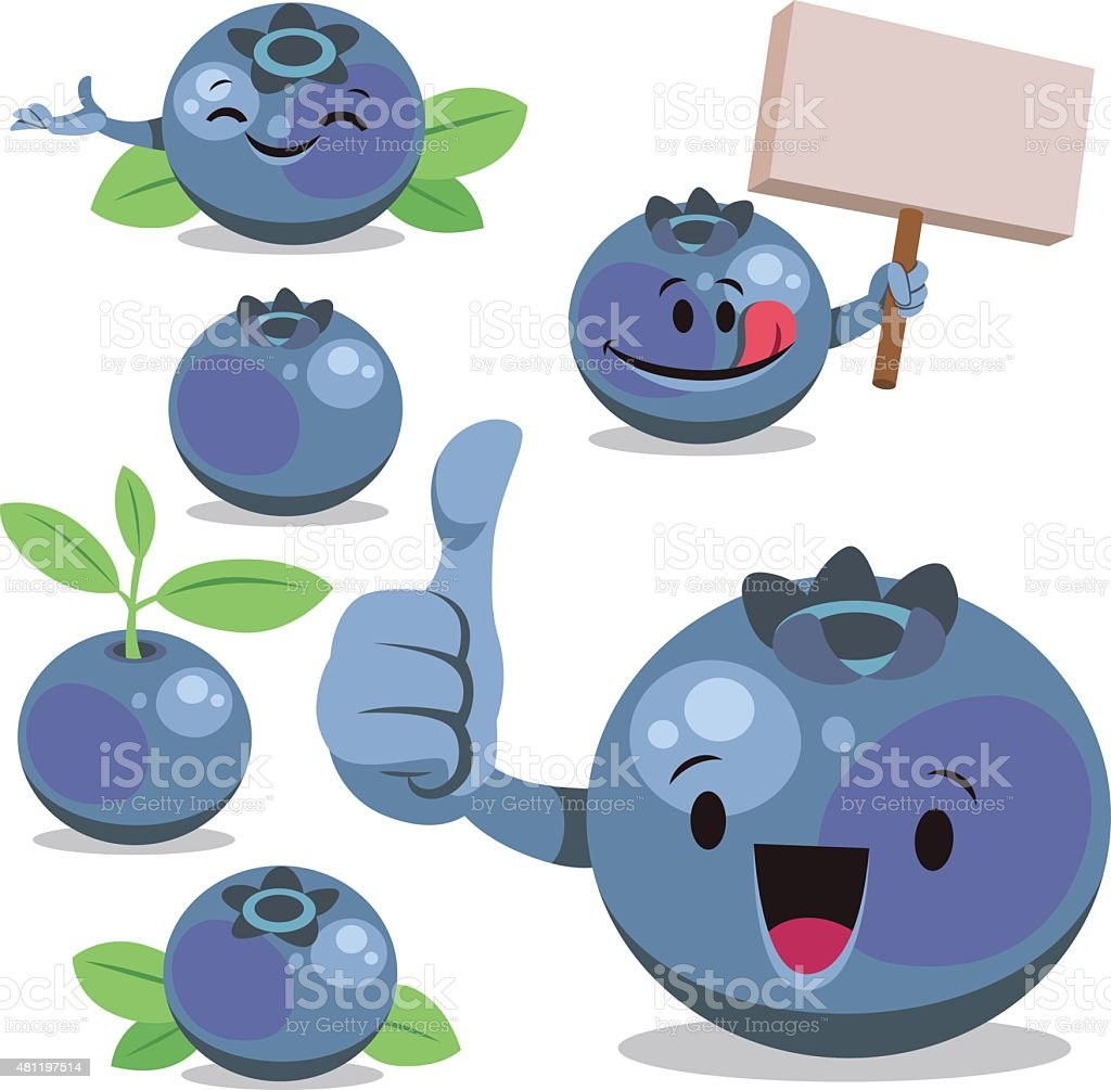 Blueberry Cartoon Set C vector art illustration