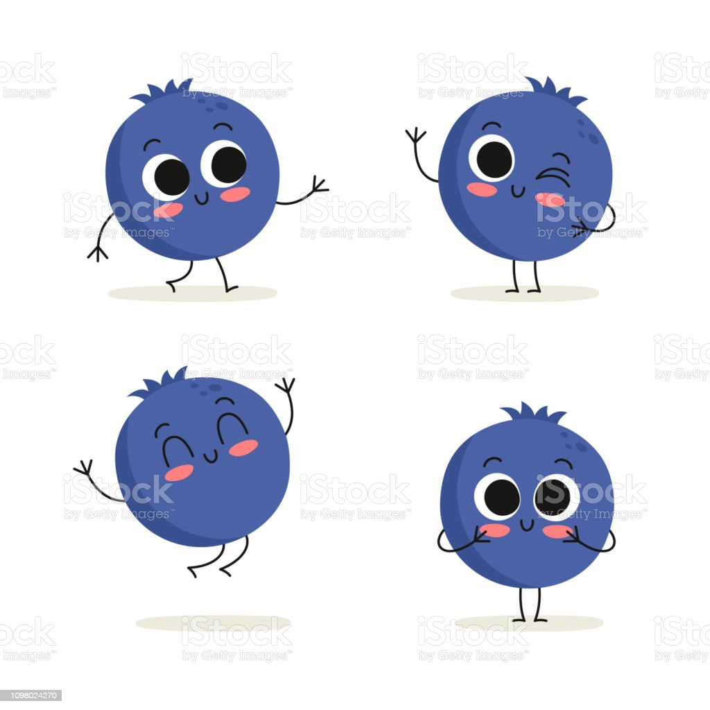 Blueberry Cute Berry Vector Character Set Isolated On White Stock