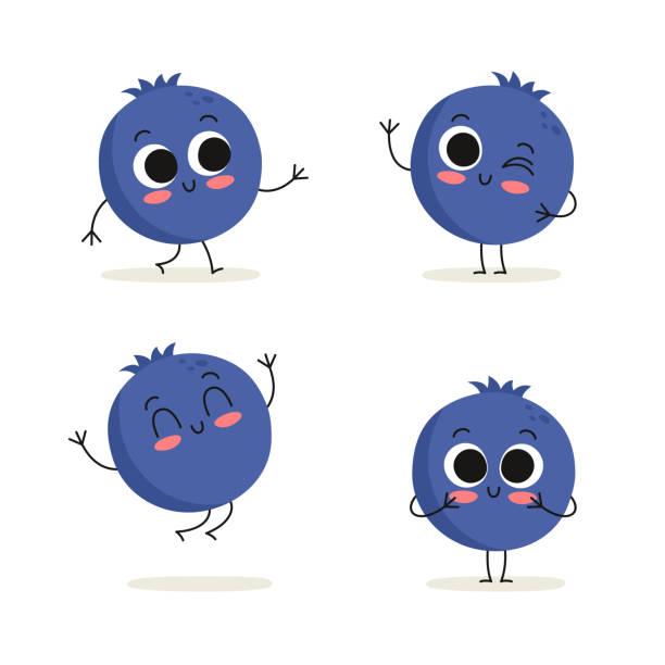 illustrazioni stock, clip art, cartoni animati e icone di tendenza di blueberry. cute berry vector character set isolated on white - mirtilli