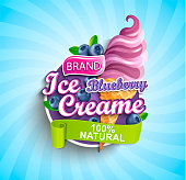 Blueberry Ice cream label on sunburst background with berries and sundae in cone in cartoon style for your design.Gelato for banner,poster,brand,template,packaging,packing, emblem. Vector