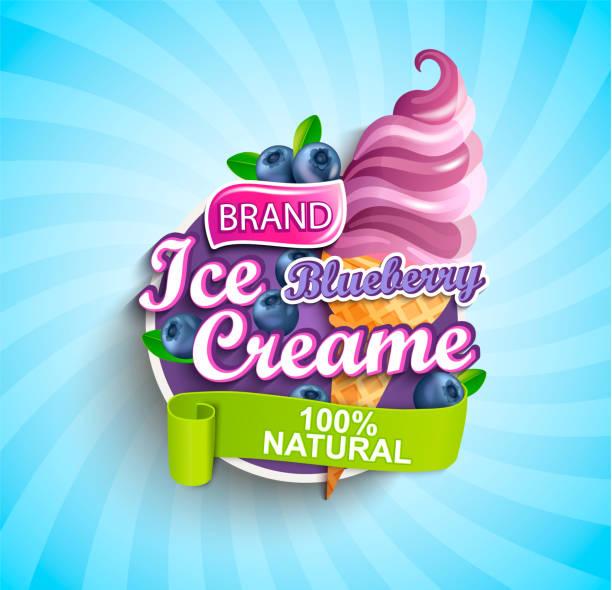 illustrazioni stock, clip art, cartoni animati e icone di tendenza di blueberry ice cream label or emblem. - gelato confezionato