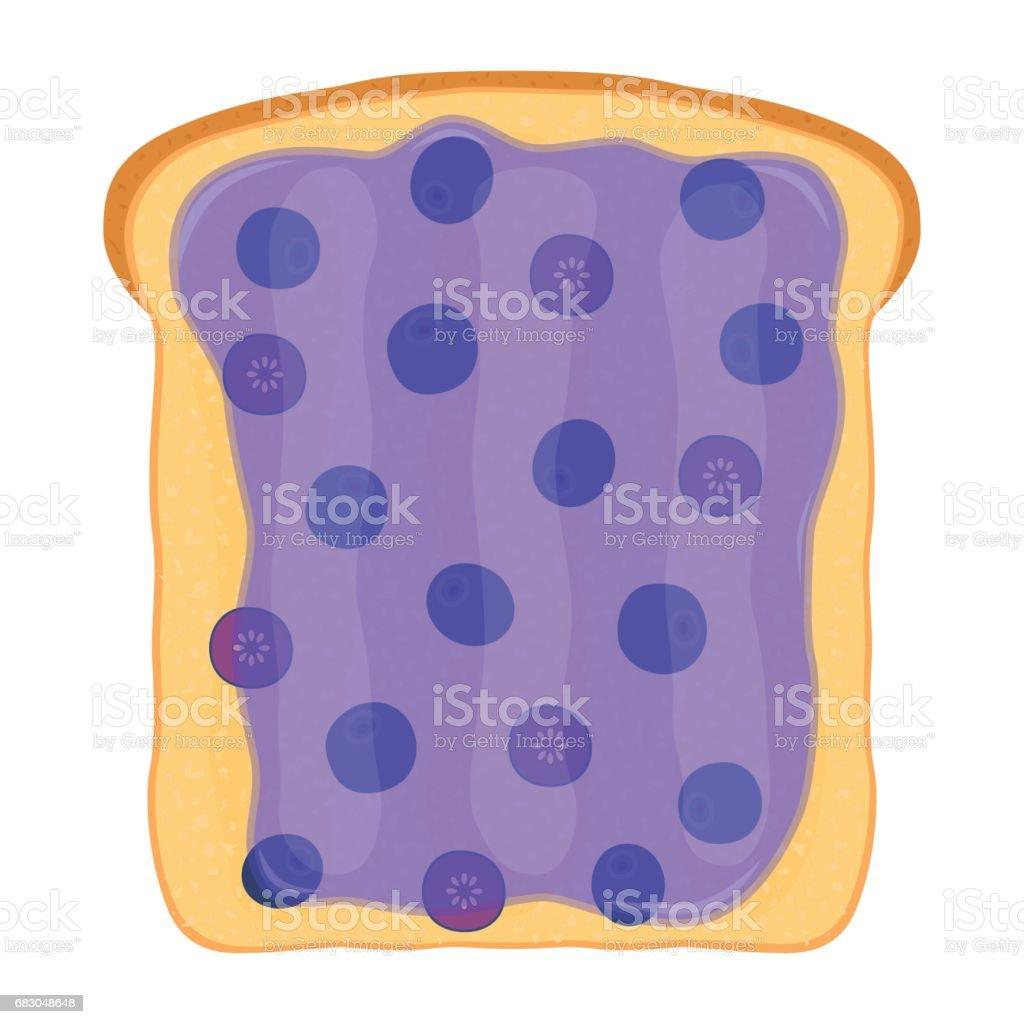 Blueberry jam on toast with jelly. Made in flat style blueberry jam on toast with jelly made in flat style - stockowe grafiki wektorowe i więcej obrazów bez ludzi royalty-free