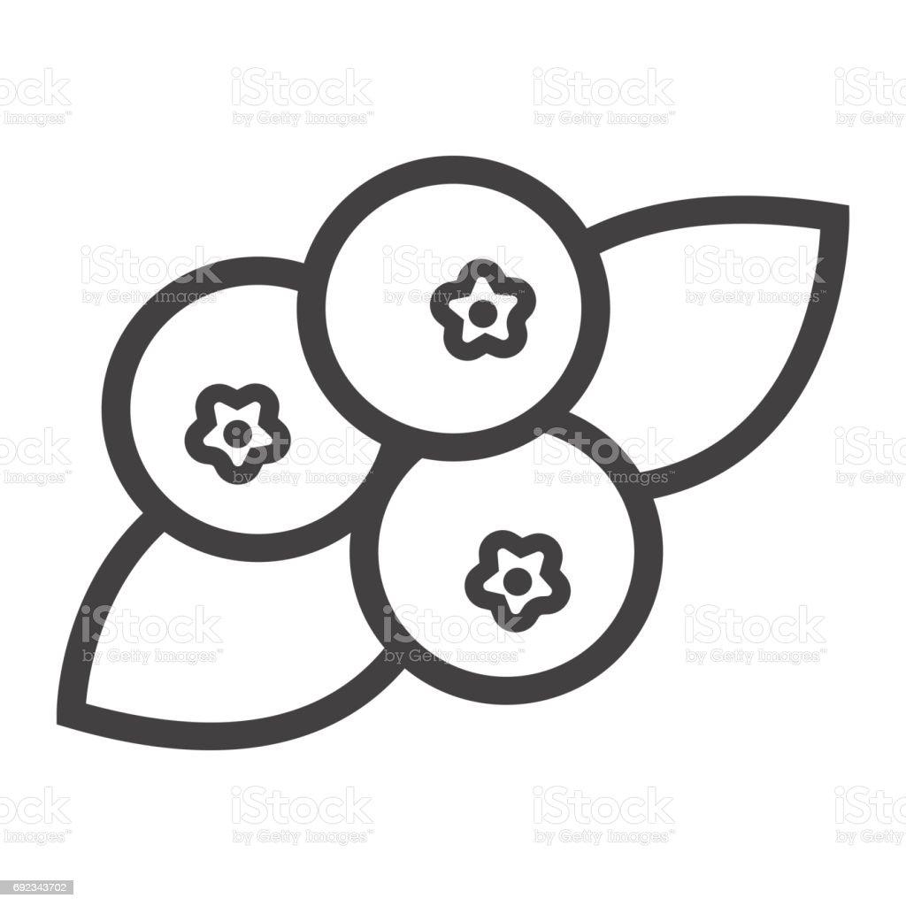 Heidelbeere Liniensymbol, Obst und Ernährung, Vektor-Grafiken, ein lineares Muster auf weißem Hintergrund, Eps 10. – Vektorgrafik