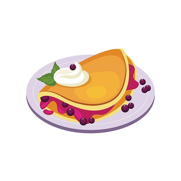 bildbanksillustrationer, clip art samt tecknat material och ikoner med blueberry pancake breakfast food element isolated icon - crepe