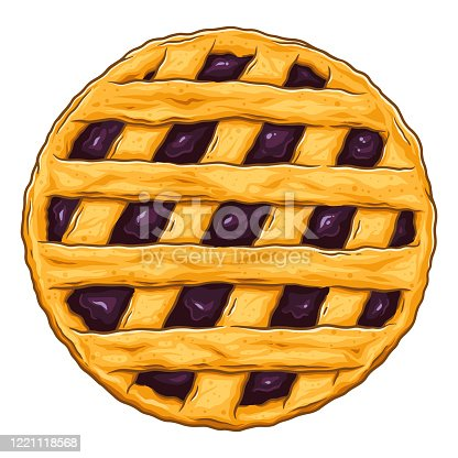 istock Blueberry Pie Illustration 1221118568