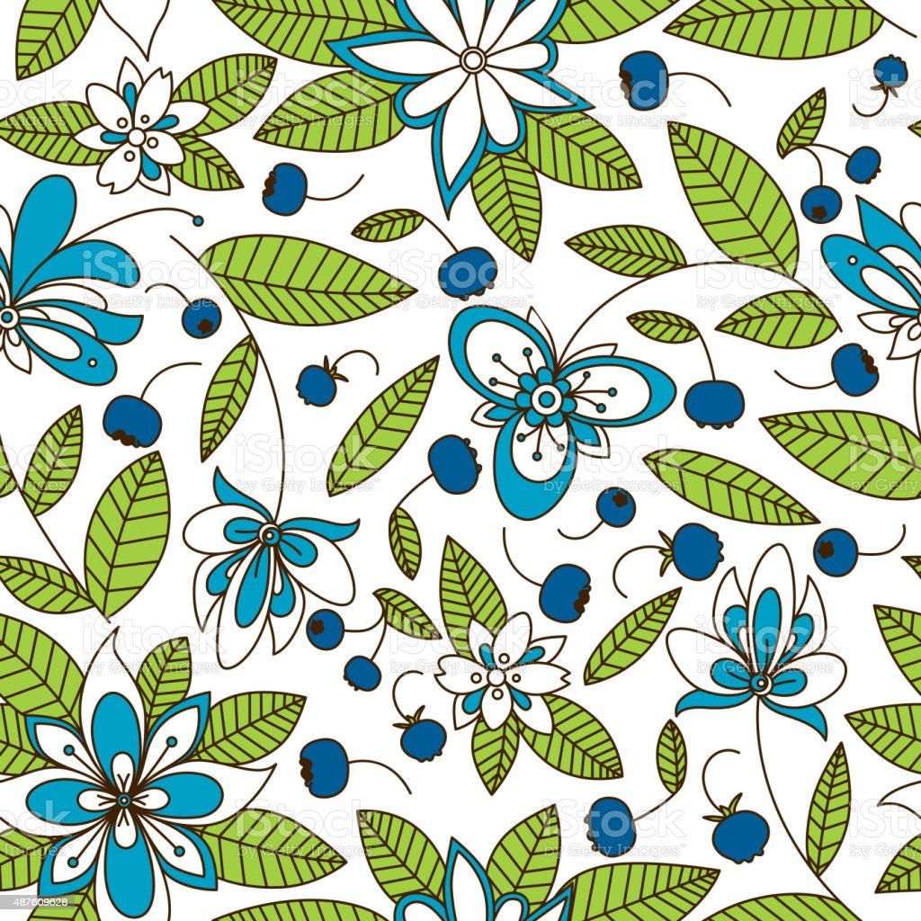 Blueberry seamless pattern with flowers vector art illustration