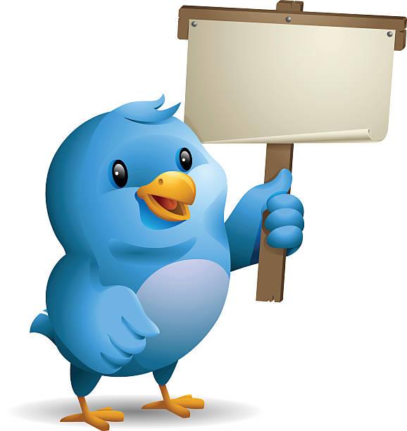 Bluebird: Holding Banner vector art illustration