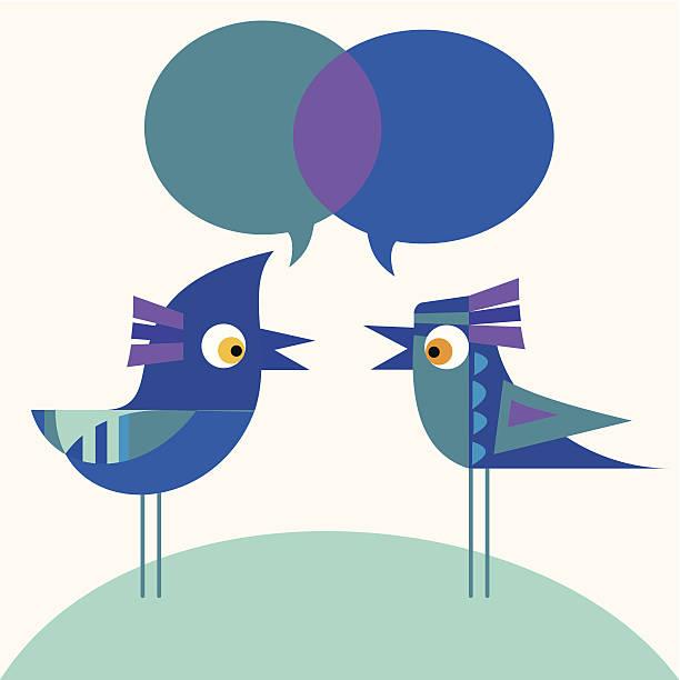 ilustraciones, imágenes clip art, dibujos animados e iconos de stock de bluebirds pareja hablando - tintanegra00