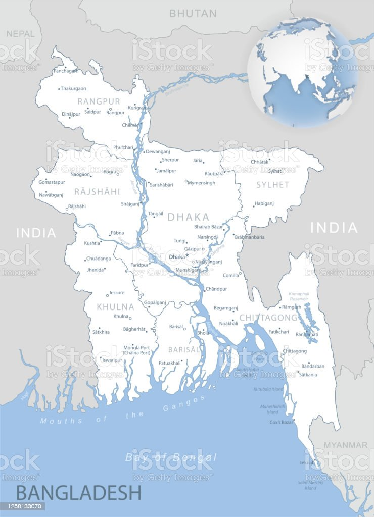 Picture of: Bluegray Detailed Map Of Bangladesh Administrative Divisions And Location On The Globe Stock Illustration Download Image Now Istock