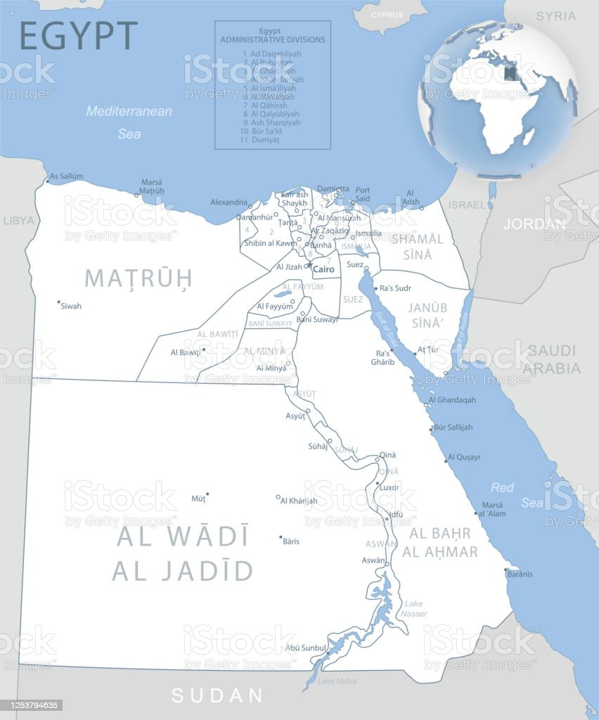 Picture of: Bluegray Detailed Map Of Egypt Administrative Divisions And Location On The Globe Stock Illustration Download Image Now Istock