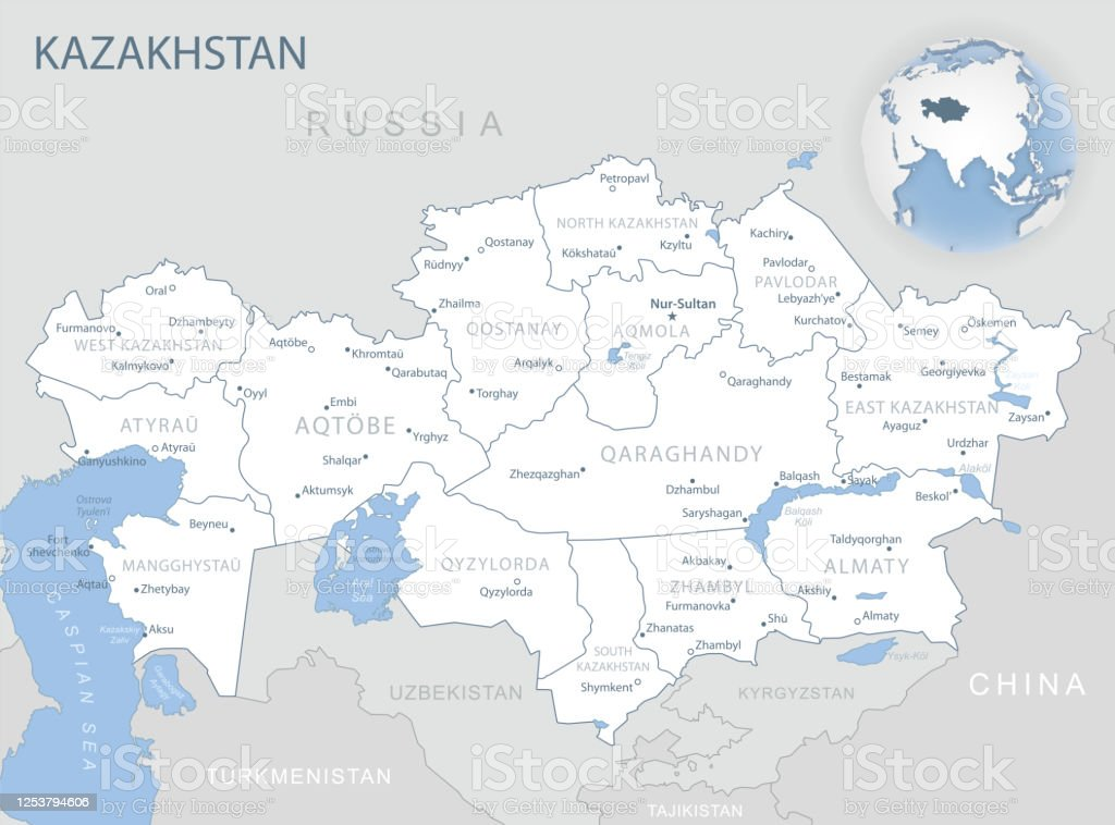 Picture of: Bluegray Detailed Map Of Kazakhstan Administrative Divisions And Location On The Globe Stock Illustration Download Image Now Istock