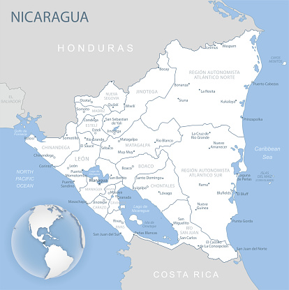 Blue-gray detailed map of Nicaragua and administrative divisions and location on the globe.