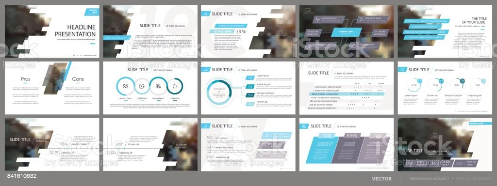 Blue-gray infographics elements for presentation templates. vector art illustration